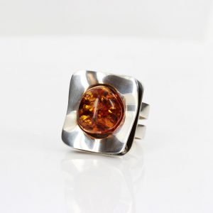 Italian Hand Made German Baltic Amber Modern Ring in 925 Silver WR013 RRP£175!!!
