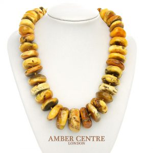 DANISH Rare Antique Natural Handmade Amber Bead Necklace A0088 RRP£4900!!!