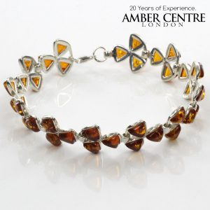 ITALIAN STYLE CLASSIC BALTIC AMBER BRACELET 925 STERLING SILVER BR039 RRP£135!!!
