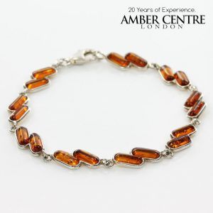 ITALIAN STYLE DELICATE BALTIC AMBER BRACELET 925 STERLING SILVER BR044 RRP£80!!!