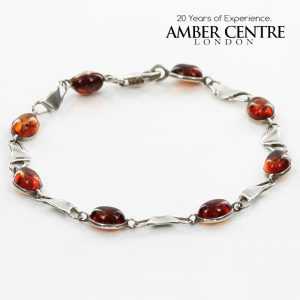 ITALIAN MADE DELICATE BALTIC AMBER BRACELET 925 STERLING SILVER BR045 RRP£65!!!