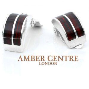 Clip on Earrings Modern German Baltic Amber 925 Silver Handmade CL009 RRP £95!!!