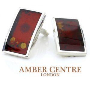 Clip on Earrings Modern German Baltic Amber 925 Silver Handmade CL011 RRP£95!!!