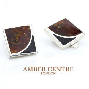 Clip on Earrings Modern German Baltic Amber 925 Silver Handmade CL014 RRP£65!!!