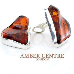 Clip on Earrings Modern German Baltic Amber 925 Silver Handmade CL017 RRP£125!!!