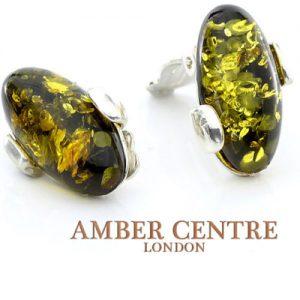 Clip on Earrings German Baltic Green Amber 925 Silver Handmade CL019 RRP£60!!!