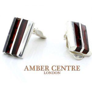 Clip on Earrings Elegant German Baltic Amber 925 Silver Handmade CL022 RRP£60!!