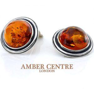 Clip on Earrings German Elegant Baltic Amber 925 Silver Handmade CL023 RRP£90!!!