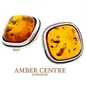 Clip on Earrings Classic German Baltic Amber 925 Silver Handmade CL029 RRP£80!!!