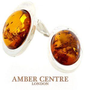 Clip on Earrings Elegant Baltic Amber Italian 925 Silver Handmade CL031 RRP£90!!