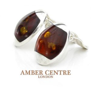 Clip on Earrings Modern German Baltic Amber 925 Silver Handmade CL066 RRP£60!!!