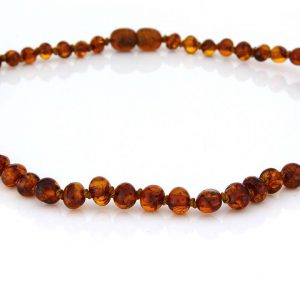 Teething Baby/Child Necklace Genuine Natural Cognac Baltic Amber A09248 RRP£25!!!