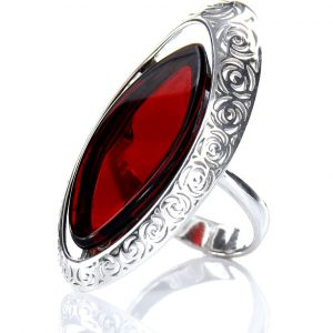 GERMAN RED UNIQUE BALTIC AMBER RING 925 SILVER SIZE O(55) - RR001 RRP£185!!!