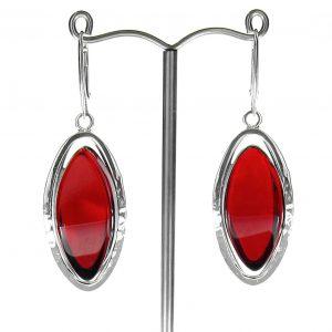 RED Handmade GERMAN BALTIC AMBER EARRINGS 925 SILVER- RE001 RRP £225!!