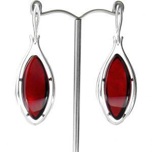 RED Handmade GERMAN BALTIC AMBER EARRINGS 925 SILVER- RE002 RRP £225!!