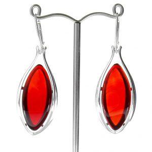 RED Handmade GERMAN BALTIC AMBER EARRINGS 925 SILVER- RE004 RRP £225!!