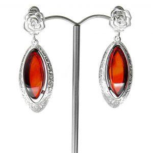 RED Handmade GERMAN BALTIC AMBER EARRINGS 925 SILVER- RE006 RRP £195!!
