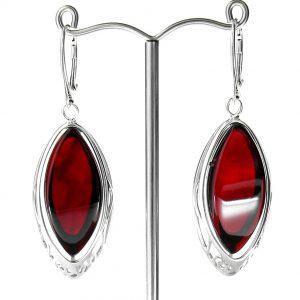 RED Handmade GERMAN BALTIC AMBER EARRINGS 925 SILVER- RE008 RRP £225!!