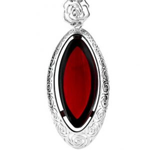RED Handmade GERMAN BALTIC AMBER PENDANT 925 SILVER- RE004 RRP £225!!!