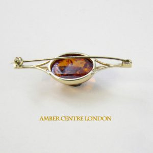 talian Handmade Elegant German Baltic Amber Brooch in 9ct Gold GB0001 RRP£250!!