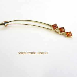 Italian Handmade Elegant German Baltic Amber Brooch in 9ct solid Gold GB0005 RRP£275!!