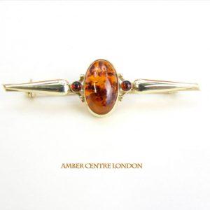 Italian Handmade Elegant German Baltic Amber Brooch in 9ct Gold GB0008 RRP£375!!!