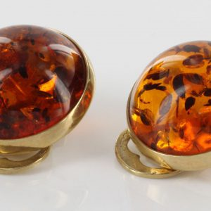 Italian Handmade Unique German Baltic Amber Clips In 9 Ct Gold - GCL0009 RRP£425!!!