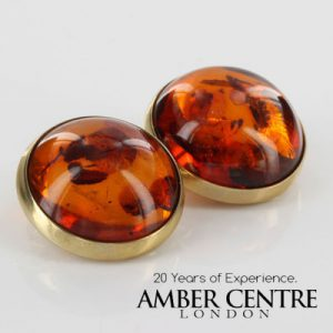 Italian Handmade German Baltic Amber Clip On Earrings in 9 Ct Gold GCL0010 RRP£595!!!