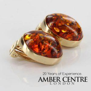 Italian Handmade German Baltic Amber Clip On Earrings, 9 Ct Gold-GCl0015 RRP£575!!!