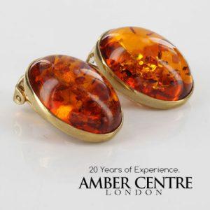 Italian Handmade GermanBaltic Amber Clip On Earrings In 9ct Gold-GCL0017 RRP£425!!!