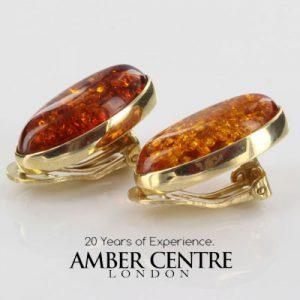 Italian Handmade Baltic Amber Clip On Earrings In 9ct Italian Gold GCL0023 RRP£475!!!