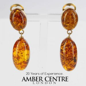 Italian Handmade Baltic Amber Drop Clips In 9 Ct Gold GCL0024 RRP£550!!!