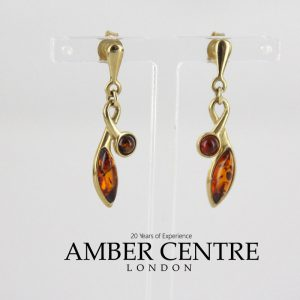 Italian Made German Baltic Amber Knot Style Earrings 9ct solid Gold GE0107 RRP£250!!!