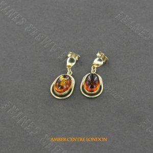 Italian Handmade German Baltic Amber Drop Earrings in 9ct Solid Gold GE0119 RRP250!!!