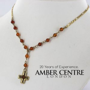 Italian Hand Made German Baltic Amber Cross Necklace 9ct solid Gold-GN0109 RRP£475!!
