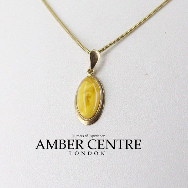 Italian Butterscotch German Baltic Amber Pendant in 9ct solid Gold-GP0017Y RRP£195!!!