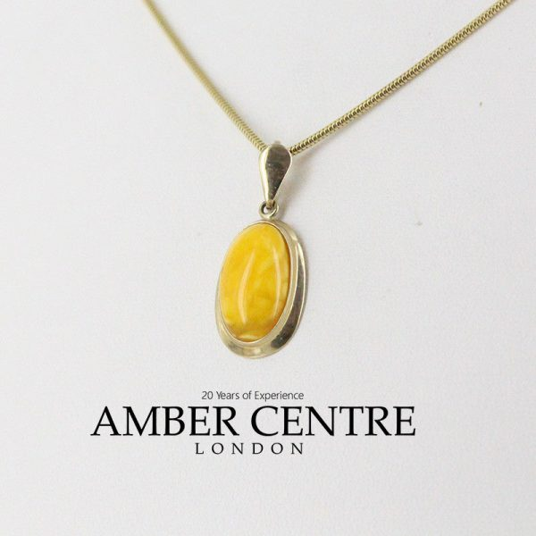 Italian Elegant Antique German Butterscotch Baltic Amber Pendant 9ct Gold GP0017YL RRP£265!!!