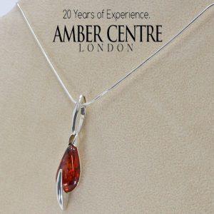 Amber Pendant Modern Baltic German 925 Silver PE0052 RRP£60!!! Free Silver Chain