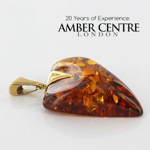 German Handmade Amber Elegant Heart Shaped Pendant in 14ct Italian Gold GP0444 RRP£1000!!!