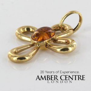 Italian Hand Made Elegant 14ct Gold Cross Pendant with German Baltic Amber - GP0506 RRP£750!!!