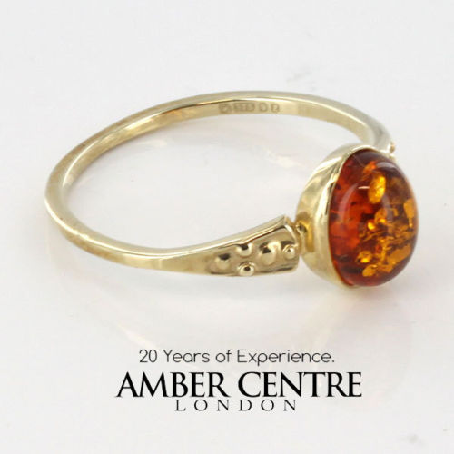 Italian Unique Handmade German Baltic Amber Ring in 9ct solid Gold- GR0193 RRP £145!!!