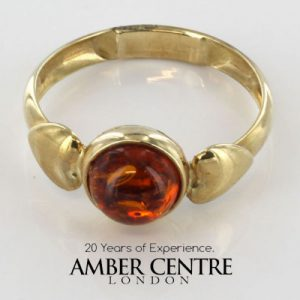"""Italian Handmade """"Love"""" Ring German Baltic Amber in 9ct solid Gold- GR0201 RRP £195!!!"""
