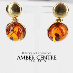 Italian Handmade German Baltic Amber 14ct Gold Stud Drop Earrings GE0385 RRP£1000!!!