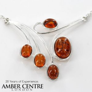 AMBER NECKLACE Modern GERMAN BALTIC Amber IN 925 STERLING SILVER N013 RRP£130!!!