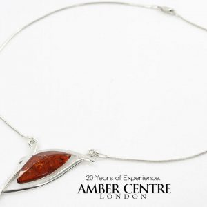AMBER NECKLACE MODERN GERMAN BALTIC Amber & 925 STERLING SILVER N015 RRP £140!!