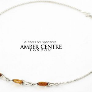 AMBER NECKLACE GERMAN BALTIC Amber & 925 STERLING SILVER N020 RRP£100!!!