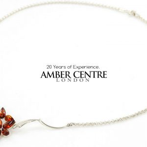 AMBER NECKLACE Handmade GERMAN BALTIC Amber IN 925 SILVER N028 RRP£80!!