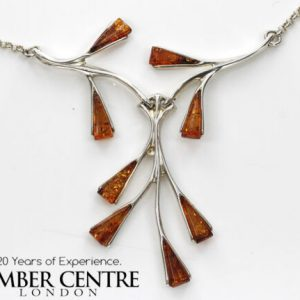 AMBER NECKLACE CONTEMPORARY DESIGN BALTIC Amber 925 SILVER -N062 RRP£129!!!