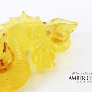 German Beautiful DRAGON Unique Carving 100% Natural Baltic Amber - RRP£1900!!!-OT6436