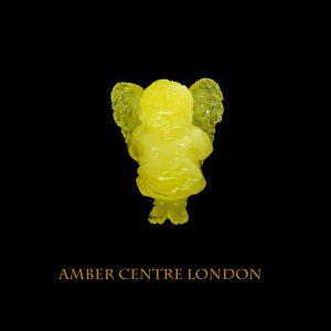 German Genuine Antique Baltic Amber LITTLE ANGEL Carving- OT6437 RRP£1950!!!